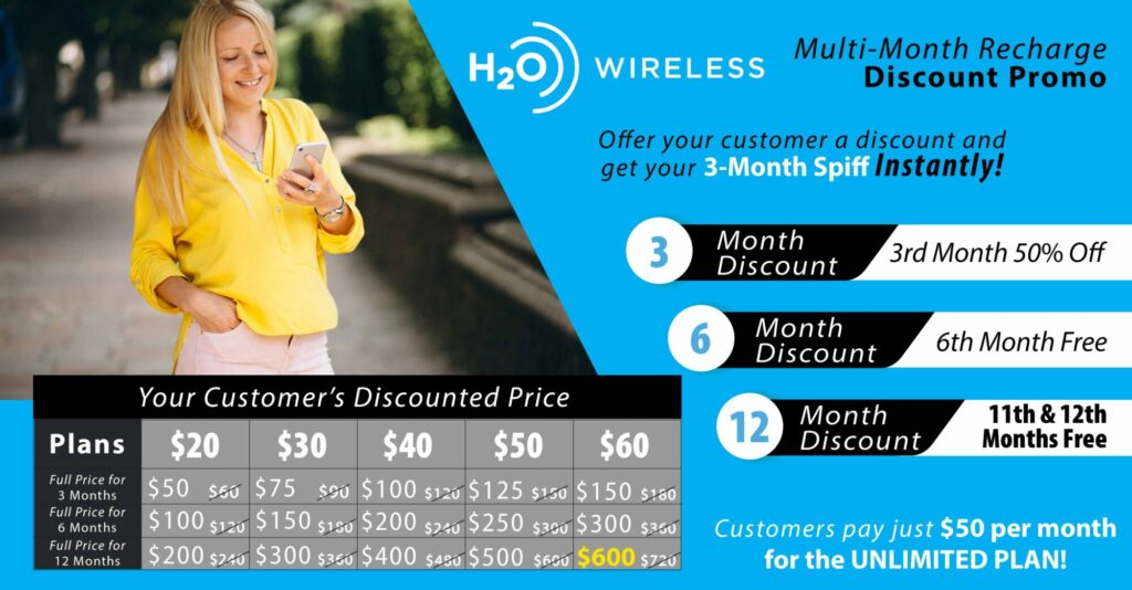 h2o wireless multi recharge discount promo